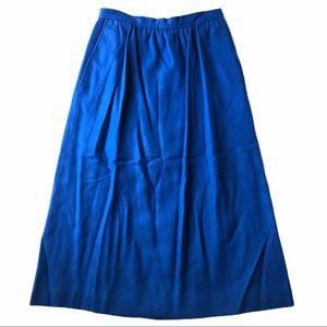 EVAN PICONE Cobalt Blue Worsted Wool Maxi Skirt